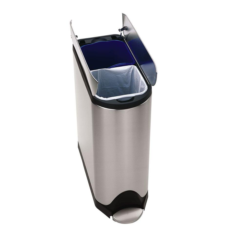 Simplehuman 40 Liter Fingerprint Proof Brushed Stainless Steel Erfly Step On Recycling Trash