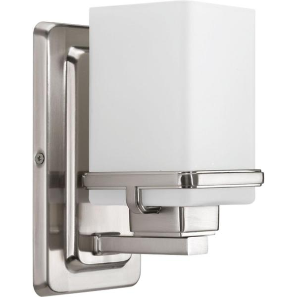 Metric Collection 1-Light Brushed Nickel Bath Sconce with Etched White Glass Shade