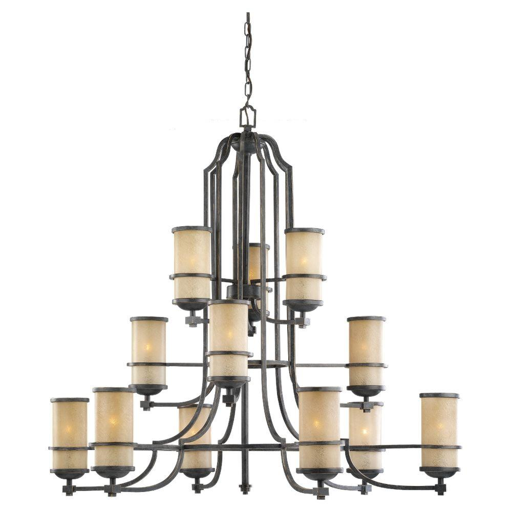 Sea Gull Lighting Roslyn 12-Light Flemish Bronze Multi-Tier Chandelier