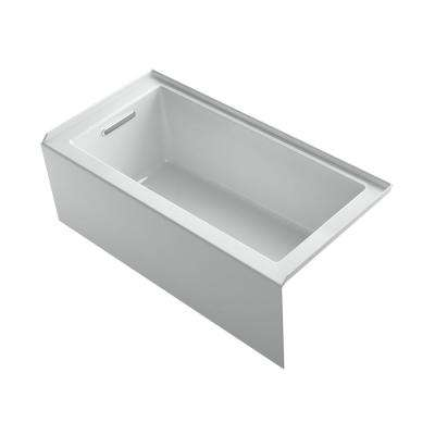Underscore 60 in. Left-hand drain Rectangular Alcove Bathtub in Ice Grey