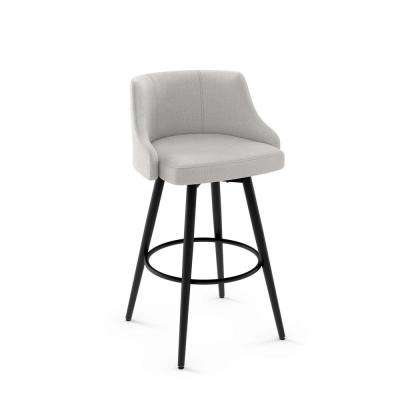 Duncan 26 in. Pale Grey Polyester / Black Metal Swivel Counter Stool