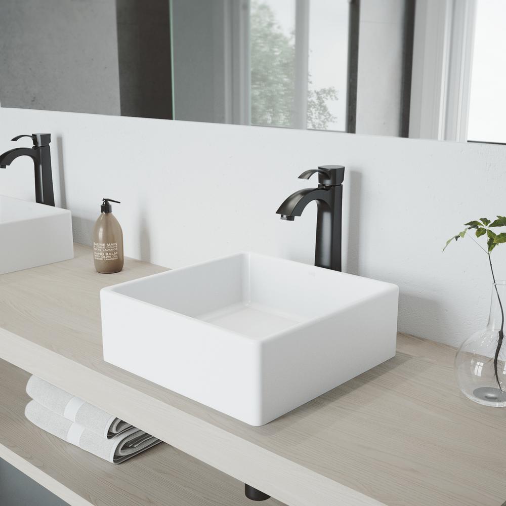 Vigo Dianthus Matte Stone Vessel Sink And Otis Bathroom