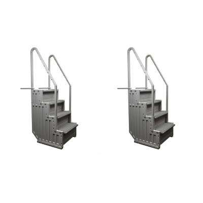 Ladder Heavy-Duty Step System Entry for Above Ground Swimming Pool (2-Pack)