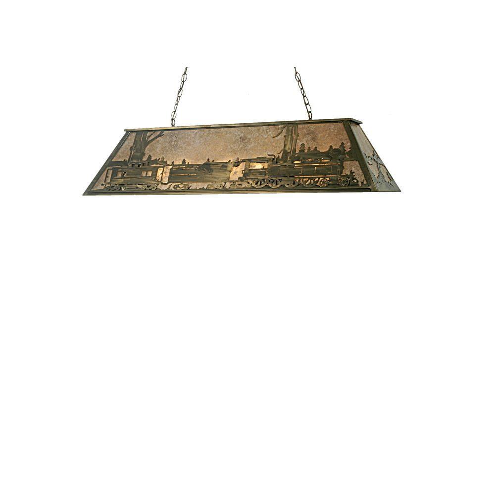 Illumine 9 Light Train Oblong Pendant Antique Copper Finish Mica Glass