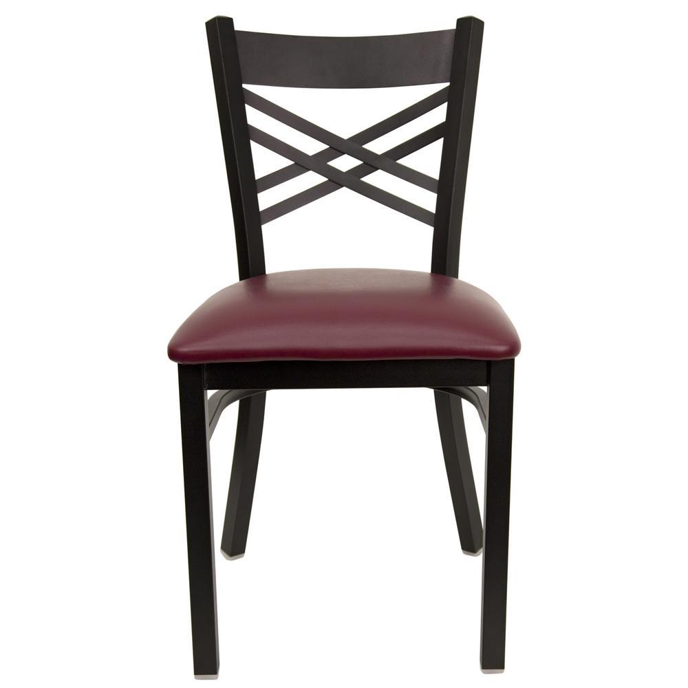 Hercules Series Black X Back Metal Restaurant Chair with Burgundy Vinyl Seat