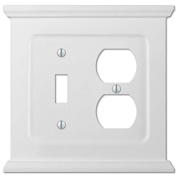 Mantel 2 Gang 1-Toggle and 1-Duplex Wood Wall Plate - White