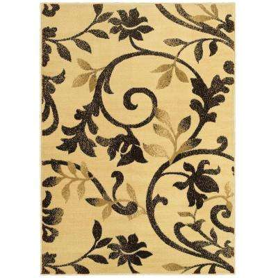 Grace Ivory/Brown 5 ft. x 7 ft. Plush Indoor Area Rug
