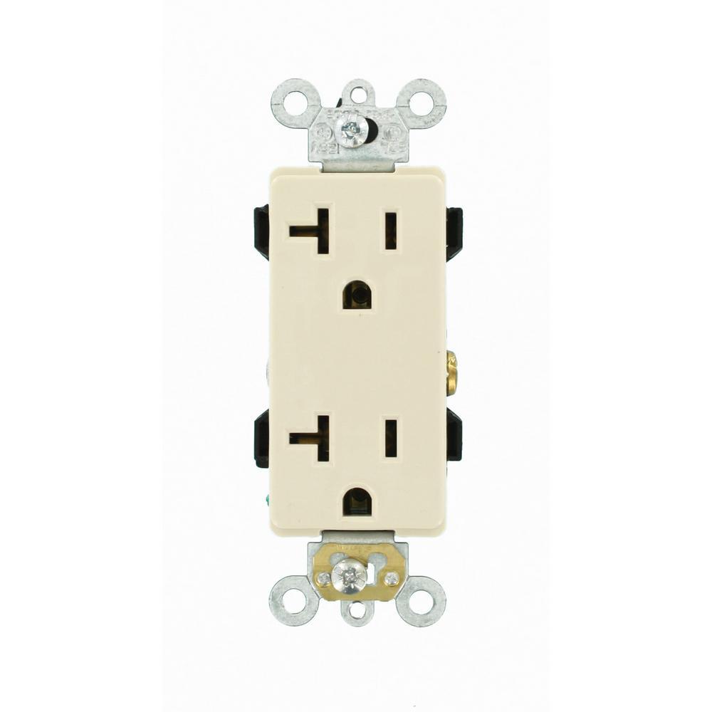 Leviton Decora Plus 20 Amp Industrial Grade Duplex Outlet, Light Almond