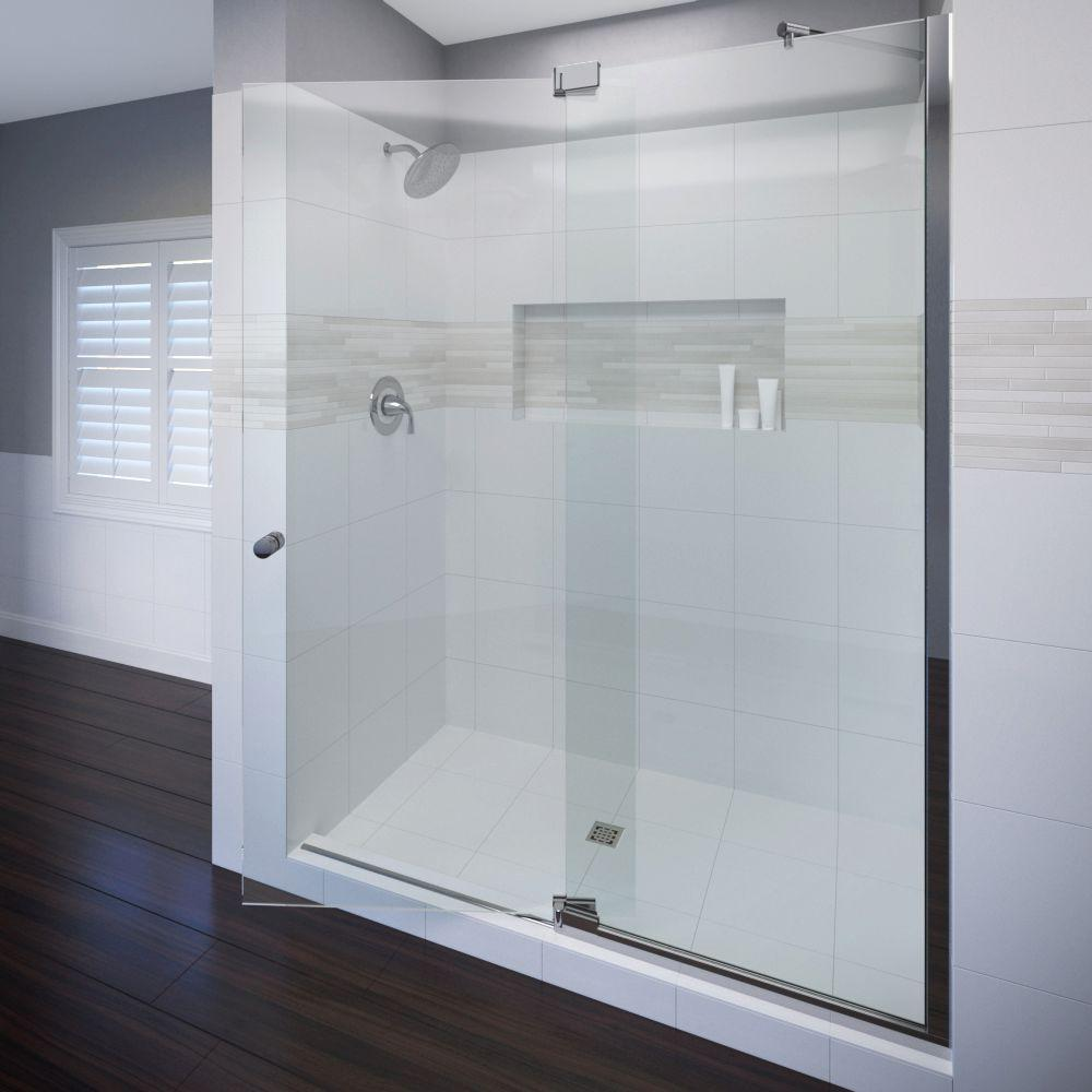 Cantour 48 in. x 76 in. Semi-Frameless Offset Pivot Shower Door