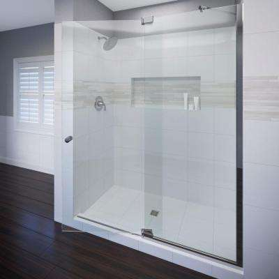 Cantour 54 in. x 76 in. Semi-Frameless Pivot Shower Door in Chrome with Handle