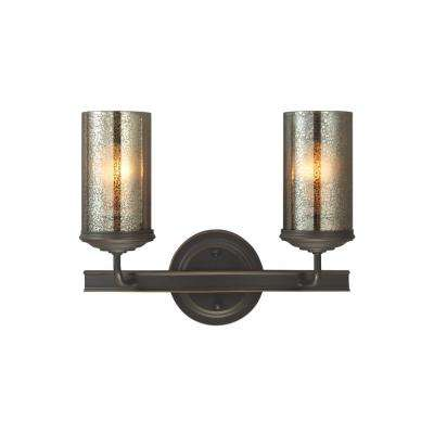 Sfera 14 in. W. 2-Light Autumn Bronze Bath Light with LED Bulbs