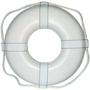 Jim-Buoy 24 inch Closed Cell Foam Life Ring with Webbing Straps in White by Jim-Buoy