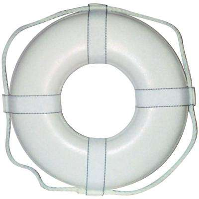 24 in. Closed Cell Foam Life Ring with Webbing Straps in White