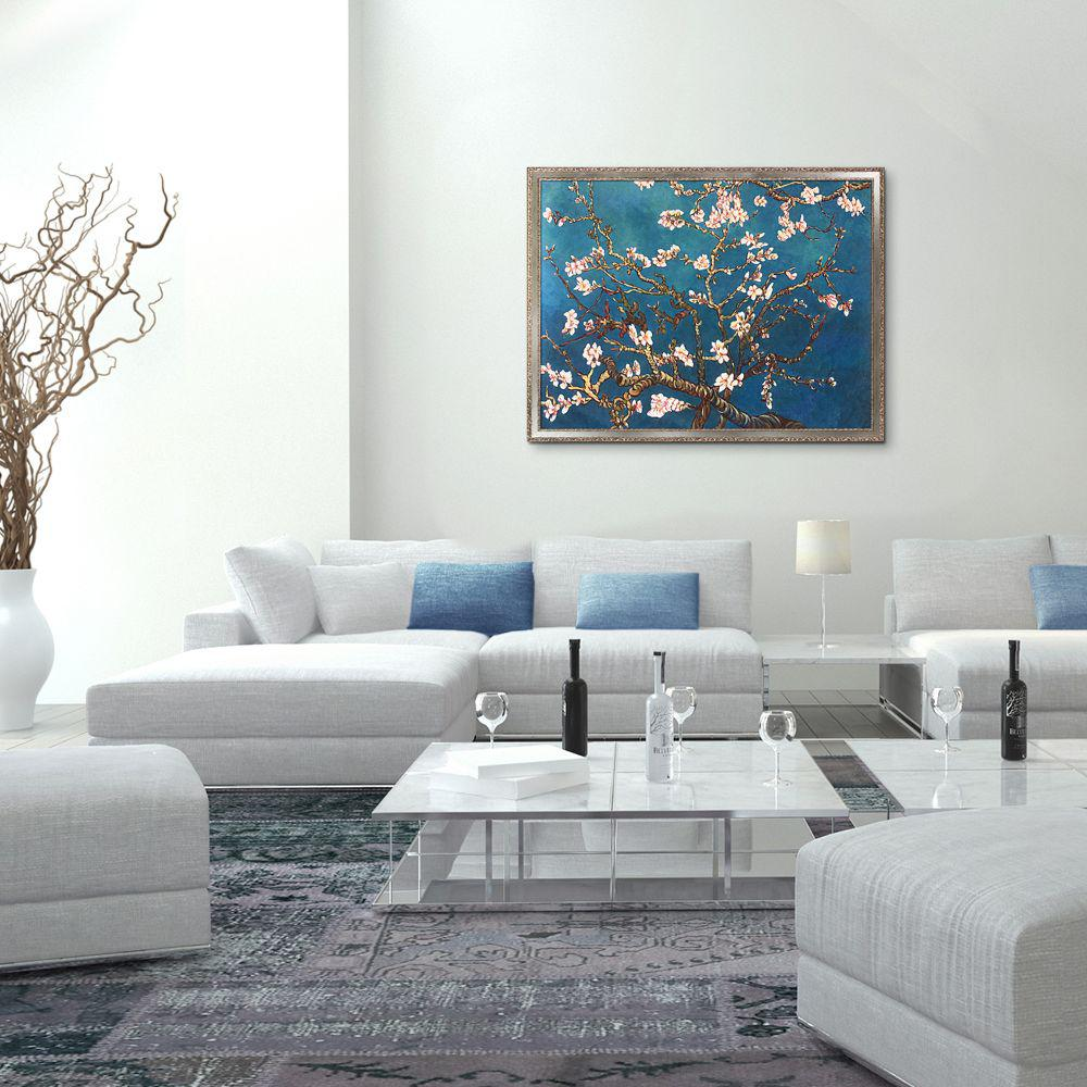 LP LA PASTICHE 52 in. x 40 in.Branches of an Almond Tree in Blossom with Versailles Silver Salon Frame by Gogh Framed Wall Art, Multi-Colored was $1570.0 now $663.58 (58.0% off)