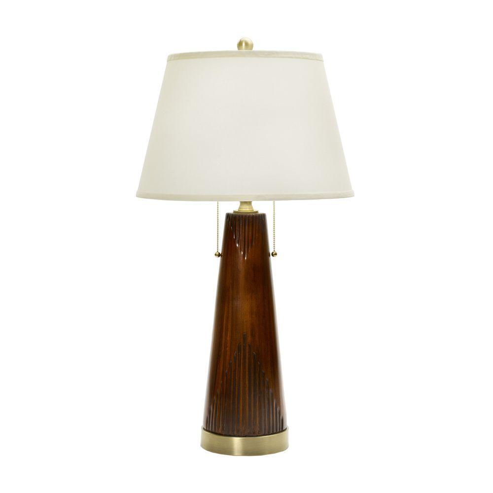 FANGIO 31 in. Fruitwood Modern Wood Grain Table Lamp