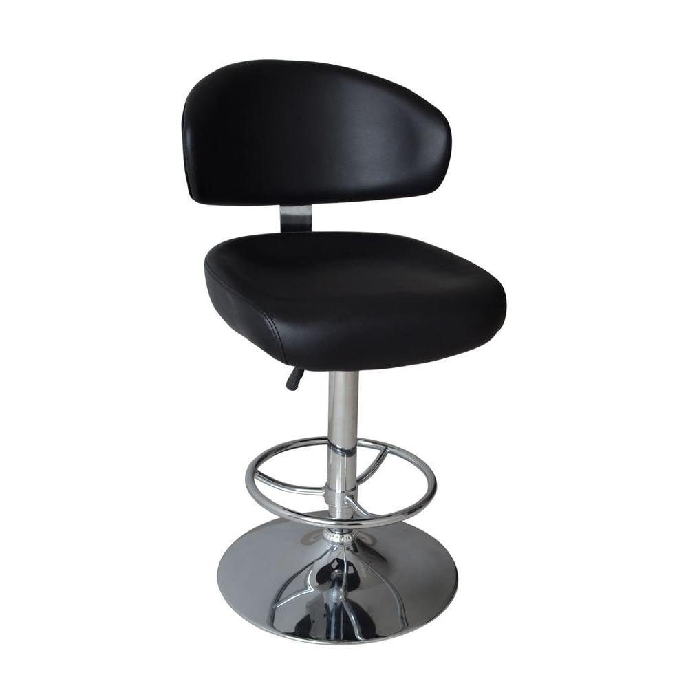 Home Decorators Collection Modern Deluxe Adjustable Height Black Swivel Cushioned Bar Stool