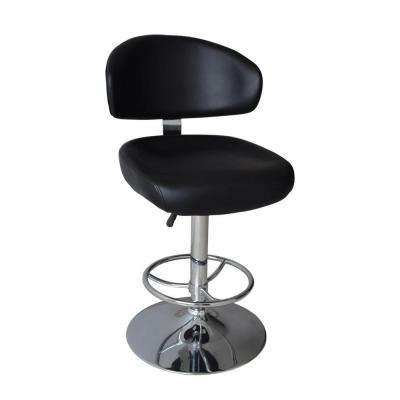 Modern Deluxe Adjustable Height Black Swivel Cushioned Bar Stool