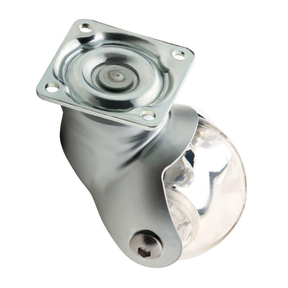 2 in. Clear Swivel Plate Caster with 88 lb. Load Rating