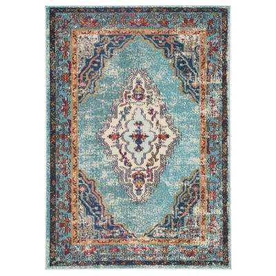 Amuze Turquoise 2 ft. 6 In. x 8 ft. Medallion Runner Rug