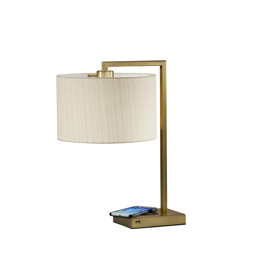 Adesso Austin 21 In Antique Brass Table Lamp With Qi Wireless Charging
