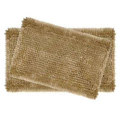 Butter Chenille 20 in. x 34 in. and 17 in. x 24 in. Bath Mat Set in Linen (2-Piece)