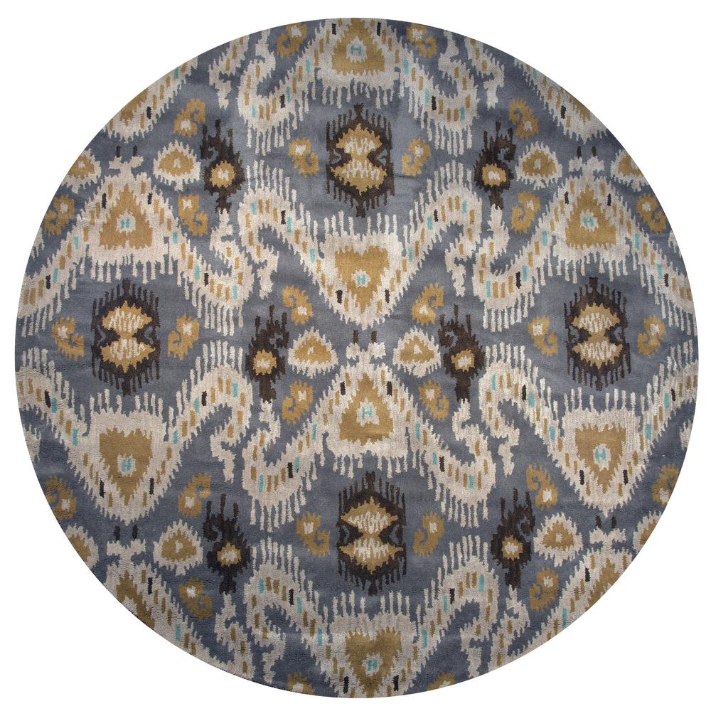 Hand Tufted Agra Red Gold Wool Rug 8 Round: Rizzy Home Volare Grey Ikat Hand Tufted Wool 8 Ft. X 8 Ft