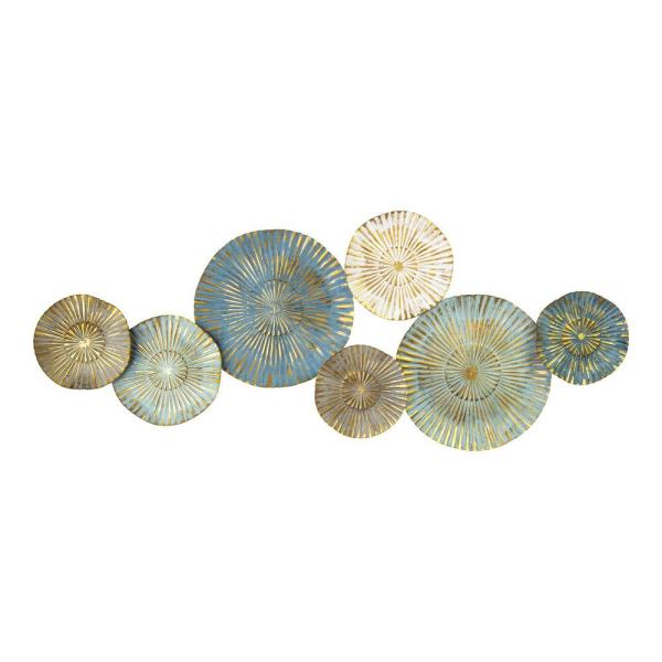 Stratton Home Decor Golden Rays Plates Metal Wall Decor S33475 The Home Depot