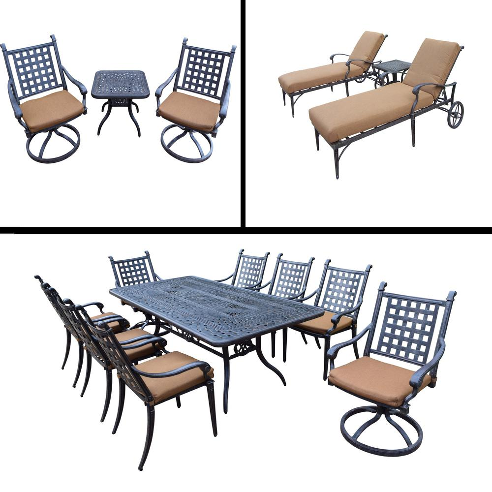 Belmont 15-Piece Aluminum Outdoor Dining Set with Sunbrella Brown Cushions