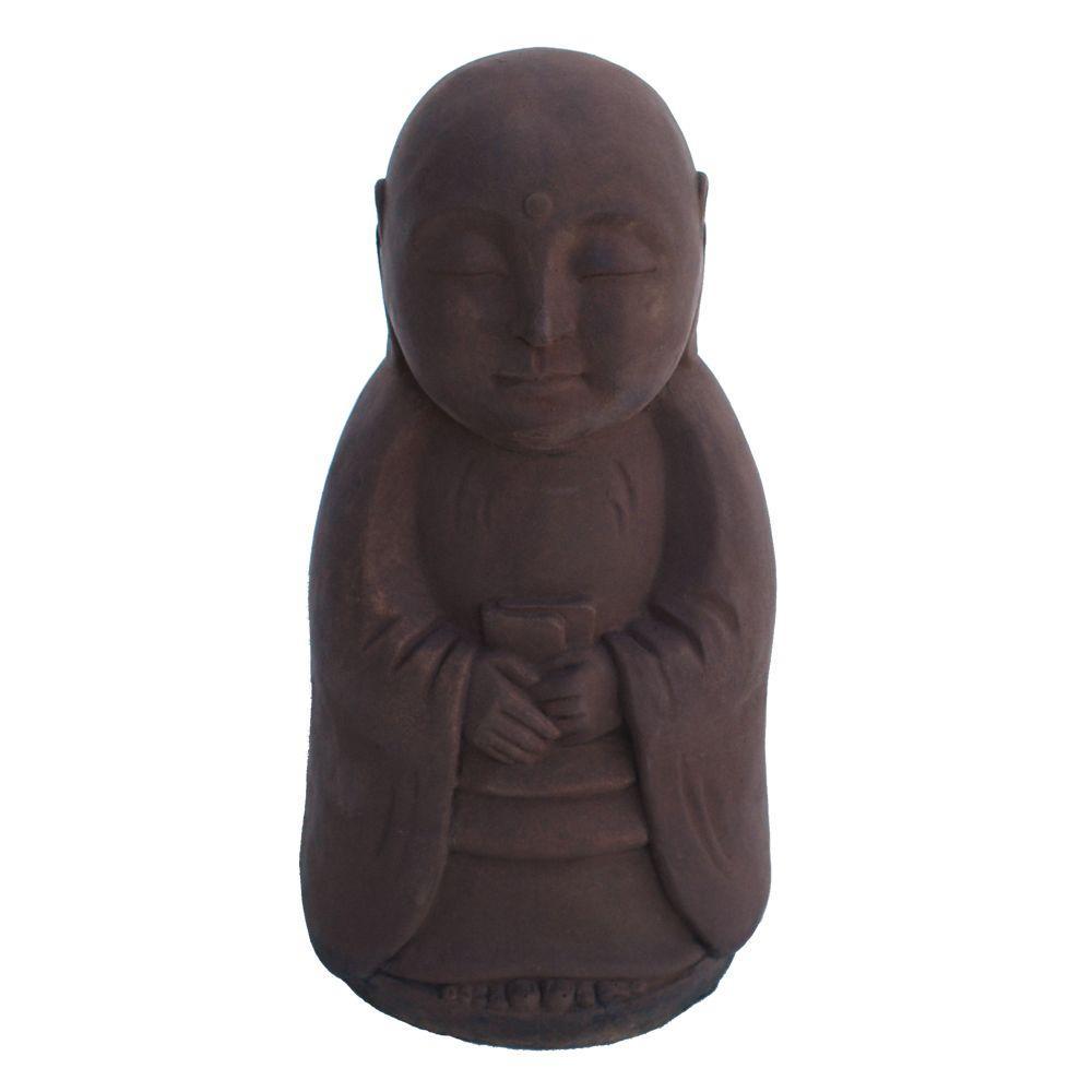 Merveilleux Cast Stone Standing Jizo Garden Statue   Dark Walnut