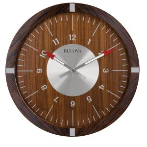 30 In H X 30 In W Zebrawood Veneer Outer Case Round Wall Clock