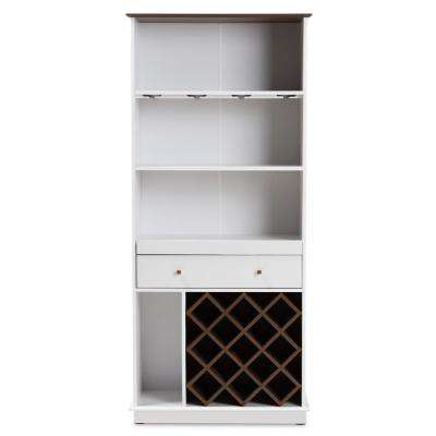 Mattia 13-Bottle White and Walnut Brown Wine Cabinet