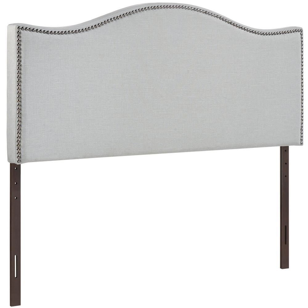 Curl Sky Gray Full Nailhead Upholstered Headboard