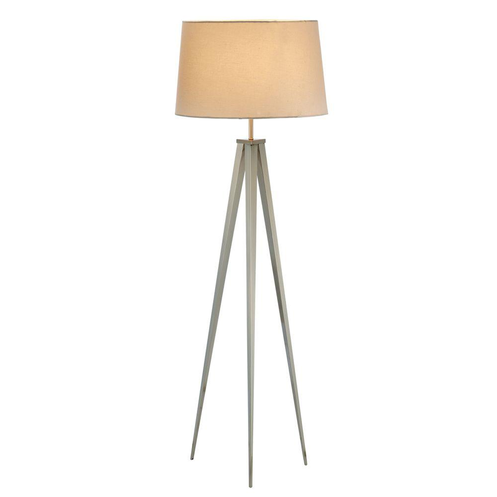 Adesso Producer 62 in. Satin Nickel Floor Lamp