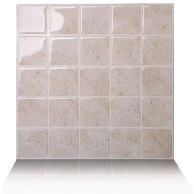 Marmo Travertine 10 in. W x 10 in. H Peel and Stick Self-Adhesive Decorative Mosaic Wall Tile Backsplash (5-Tiles)
