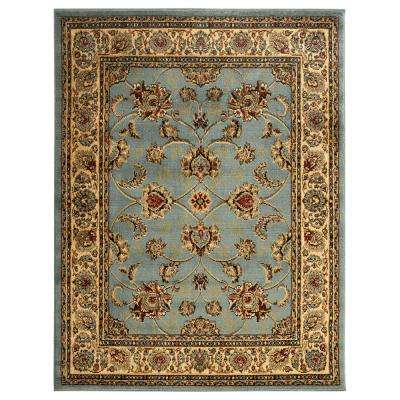 King Collection Mahal Oriental Seafoam 8 ft. x 10 ft. Indoor Area Rug