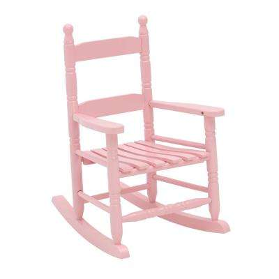 Pink Wood Patio Children's Outdoor Rocking Chair