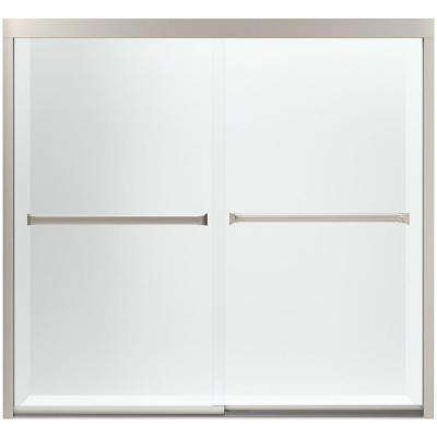 Meritor 59-3/8 in. x 55-1/8 in. Semi-Frameless Sliding Tub Door in Nickel with Handle