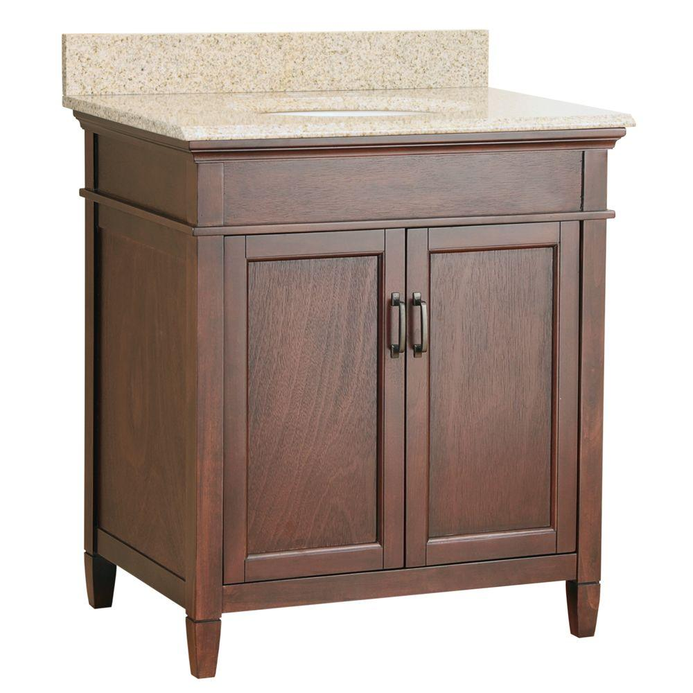 Foremost Ashburn 31 in. x 22 in. Vanity in Mahogany with Granite Top in Mohave Beige and Basin in Beige-DISCONTINUED