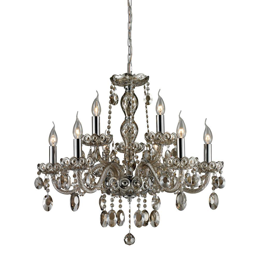 Titan Lighting 9-Light Chrome Ceiling Mount Chandelier-DISCONTINUED