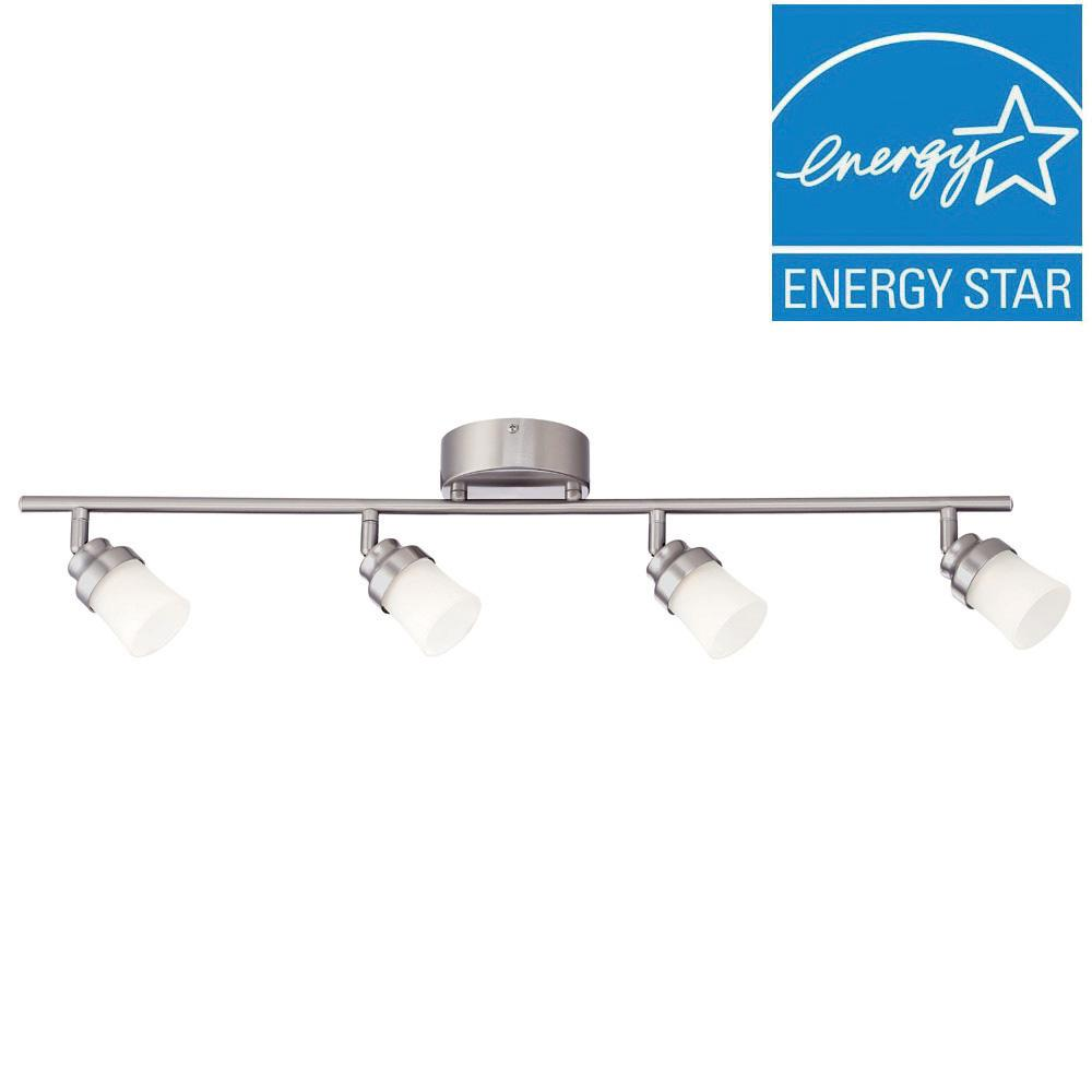 Brushed Nickel LED Track Lighting Kit with 4 LED Track Lights  sc 1 st  The Home Depot : white track lights - azcodes.com