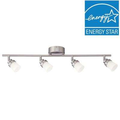 Track lighting kits track lighting the home depot 3 ft brushed nickel led track lighting kit with 4 led track lights mozeypictures Image collections