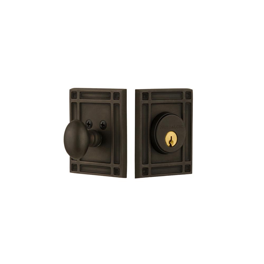 Mission Plate 2-3/8 in. Backset Single Cylinder Deadbolt in Oil-Rubbed Bronze