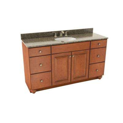 Charlottesville 61 in. Vanity in Cognac with Silestone Quartz Vanity Top in Mountain Mist and Oval White Sink
