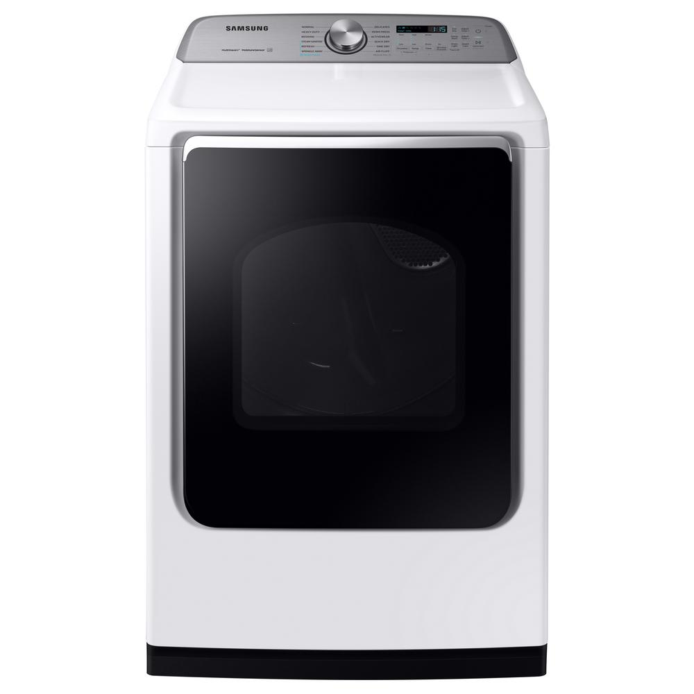Samsung 7.4 cu. ft. White Electric Dryer with Steam Sanitize+, ENERGY STAR