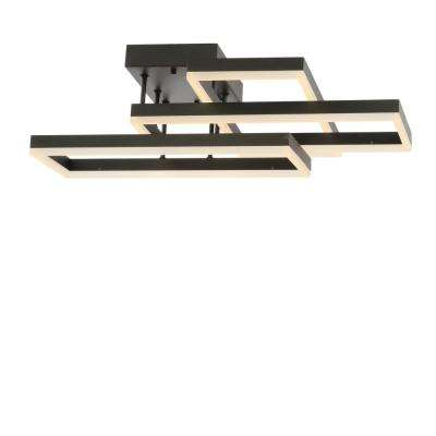 Turing 28 in. Black Geometric Integrated LED Metal Flush Mount