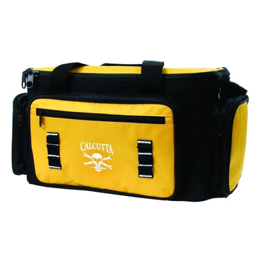 Calcutta Black and Yellow Tackle Bag with 4 Utility Boxes