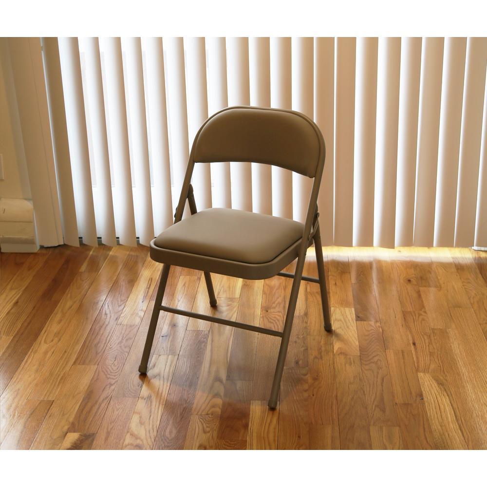 Brilliant Tan Metal Frame Padded Seat Folding Chair Theyellowbook Wood Chair Design Ideas Theyellowbookinfo