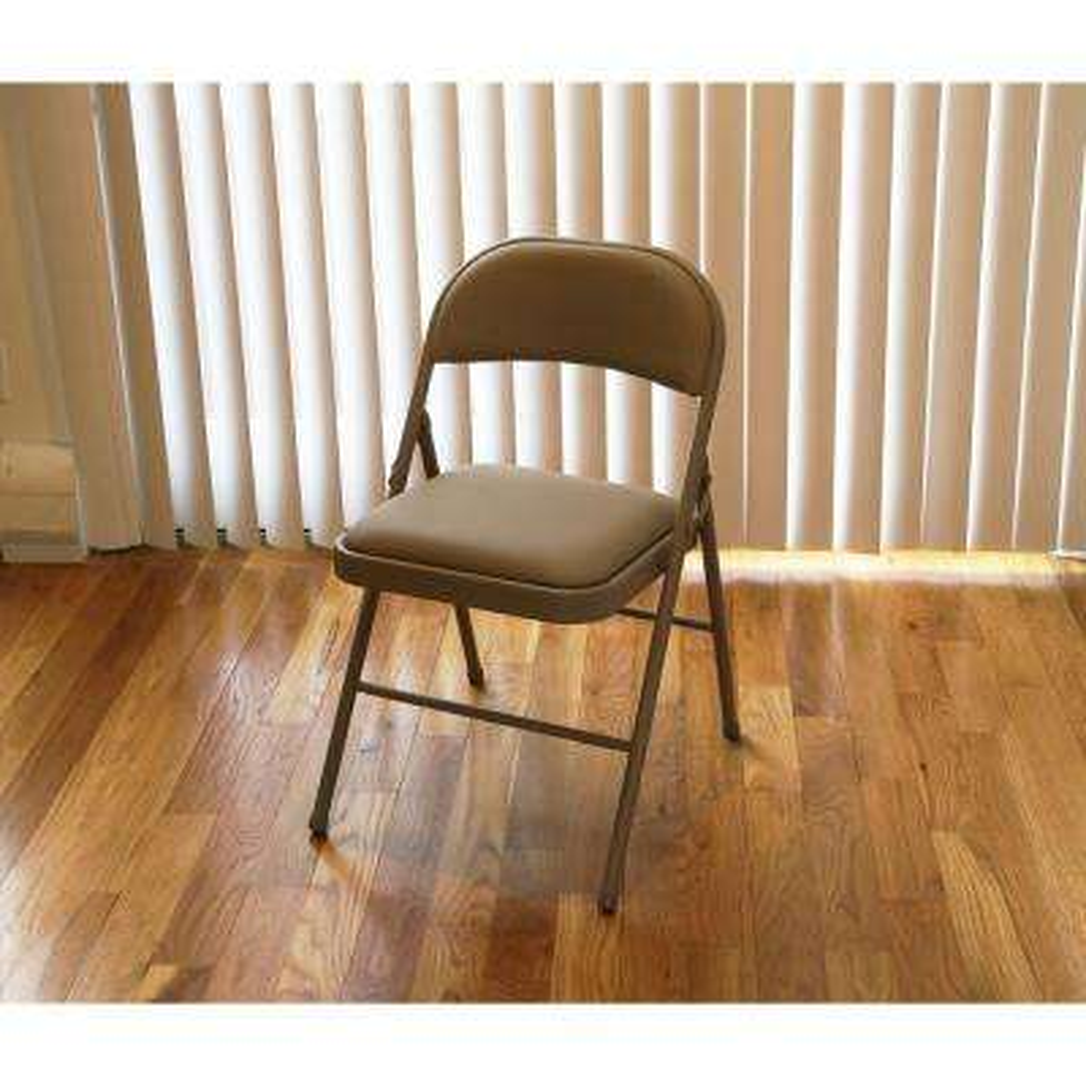 Tan Metal Frame Padded Seat Folding Chair