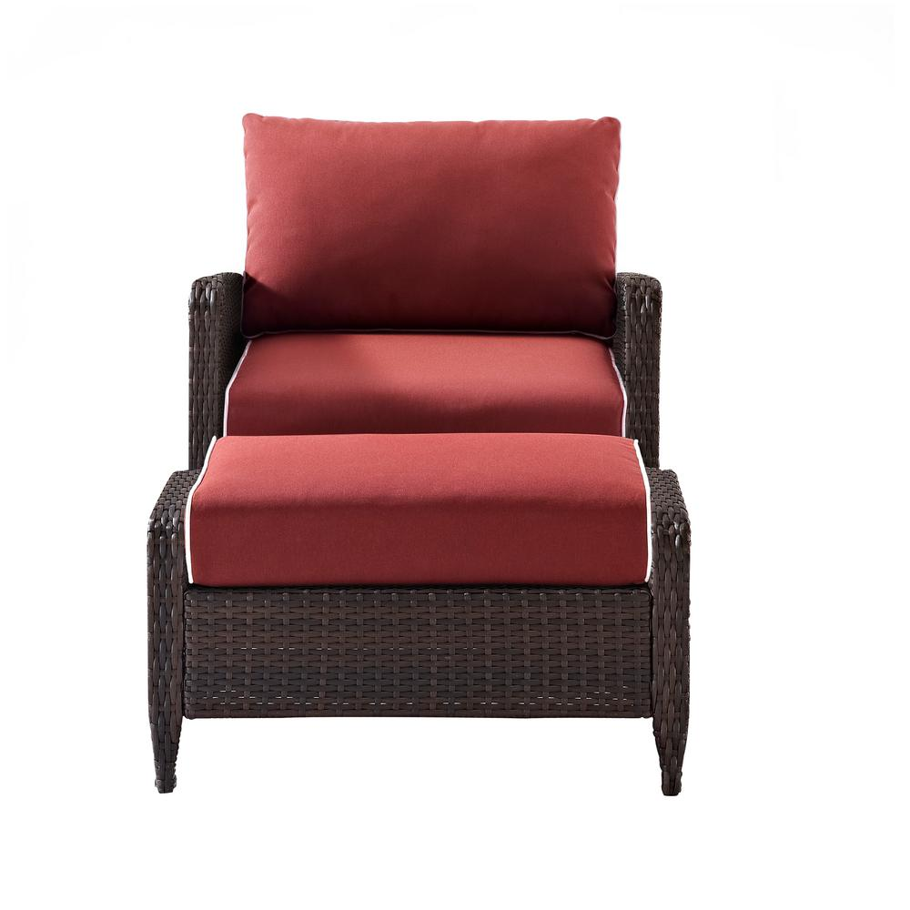 Kiawah 2-Piece Wicker Outdoor Lounge Chair and Ottoman with Sangria Cushion