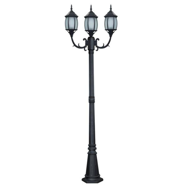 Hayden 3-Light Black Outdoor Post Light with Frosted Glass